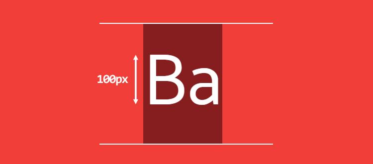 Высота заглавной буквы - 100px