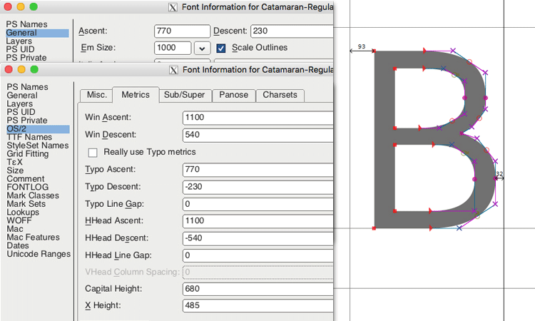 Значения шрифта в FontForge